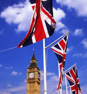 big ben and union jack flags, london,