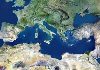 Vista satélite del Mar Mediterráneo