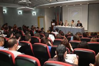 Manuela Fernández, Vicente Guzmán, Diego Valderas y Daniel González durante el Encuentro en el salón de actos del CABD