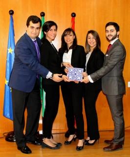En la imagen de izquierda a derecha:- Miguel Marín Vázquez, Macarena Narváez Gallardo, Beatriz Martínez González (entrenadora del grupo), Cristina Leal Arenas y Juan Curado Romano.