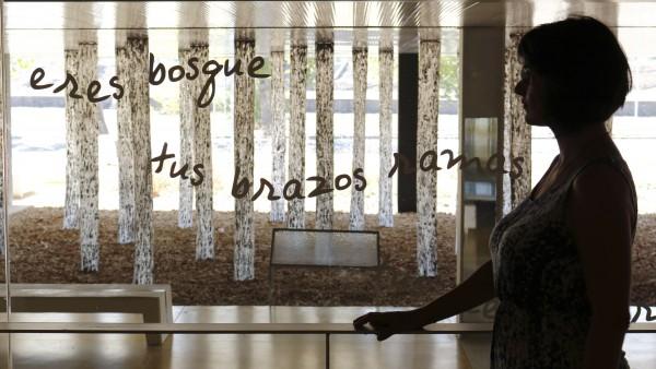 La artista Rinat Izhak se asoma a su obra de arte.
