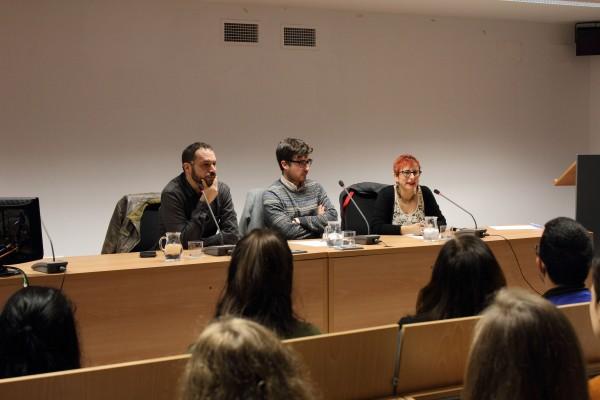 De izquierda a derecha, Manuel de los Reyes, Juan Antonio Peeme y Pilar Ramírez Tello