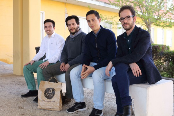 Pictured, from left to right, the student of the UPO Juan Recio Bello, David Matos Branco and Francisco Marques Duarte and  the student of the UPO Pablo Rodríguez Fernández.