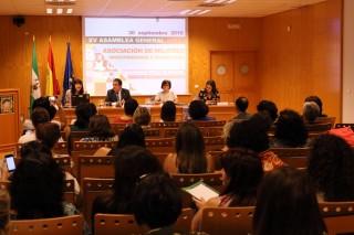 Pepa Masegosa, presidenta de AMIT-Andalucía; el rector de la UPO Vicente Guzmán Fluja; Capitolina Díaz, presidenta de AMIT, y Lina Gálvez, vocal de la Junta Directiva de AMIT y organizadora de la asamblea.