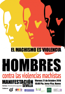 """Cartel: Manifestación """"El machismo es violencia. Hombres contra las violencias machistas"""", el viernes a las 19 horas en la Puerta de Jerez"""