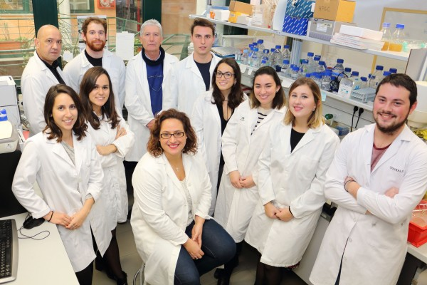 José Antonio Sánchez Alcázar. tercero desde la izquierda, junto a los investigadores del Grupo de Fisiopatología Celular en la Enfermedad y el Desarrollo, en el CABD.