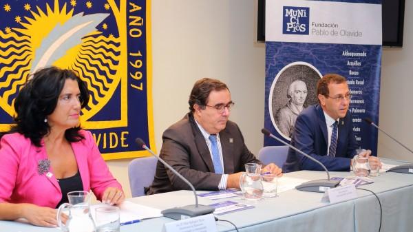 Pilar Rodríguez Reina, Vicente Guzmán y David Naranjo Gil durante la presentación de la Feria Nuevas Poblaciones.