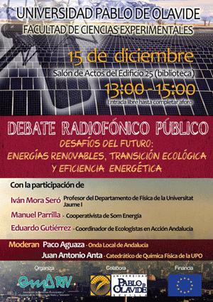 Debate dedicado a las energías renovables, la transición ecológica y la eficiencia energética - 15 de diciembre, 13 horas