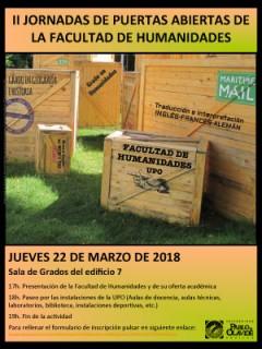 II JORNADAS DE PUERTAS ABIERTAS DE LA FACULTAD DE HUMANIDADES - 22 de marzo, 17 horas