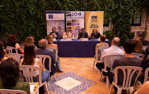 Juan Ávila, Vicente Guzmán, José Fiscal yAmparo Rubiales en la inauguración de los Cursos de Verano