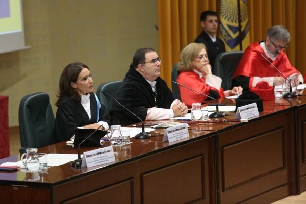 Lina Gálvez, Vicente Guzmán, Amparo Rubiales y José M. Seco durante el Acto de Apertura del Curso 2018/19