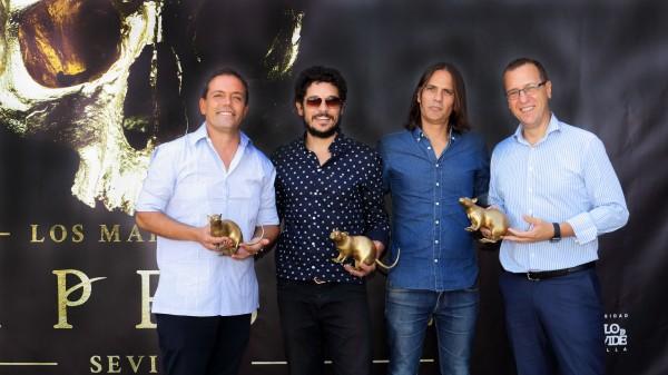 José Manuel Feria, Molinaro, Rafael Cobos y David Naranjo en la presentación del maratón de 'La Peste'