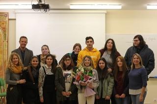 El grupo de estudiantes de 2º de Bachillerato del IES José María Infantes que han ganado el concurso.