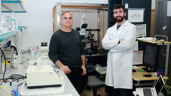 Antonio Rodríguez-Moreno (i) y Rafael Falcón Moya, en el Laboratorio de Neurociencia y Plasticidad de la UPO