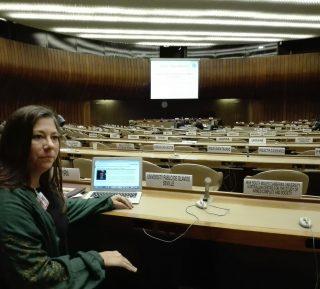 Reyes Jiménez Segovia en la sede de la ONU en Gibebra