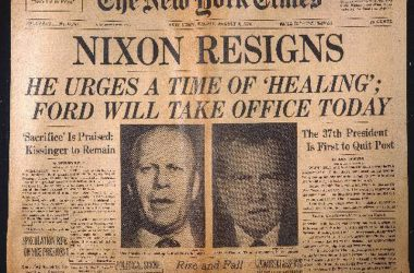 'NIXON RESIGNS': NEWSPAPER. Front page of the New York Times, 9 August 1974.