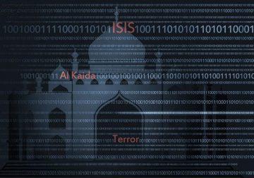 Words ISIS, Al Qaeda, Terror, digital code, illustration