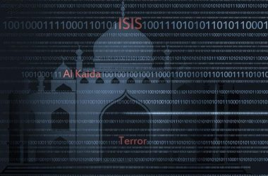 Words ISIS, Al Qaeda, Terror, digital code, illustration