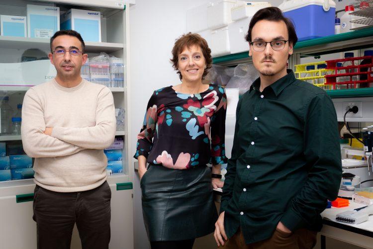 Desde la izquierda, José Luis Cantero, Mercedes Atienza y Daniel Baena en su laboratorio