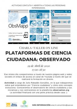 Charla-Taller 'Plataformas de ciencia ciudadana: Observado' @ Online - Universidad Pablo de Olavide