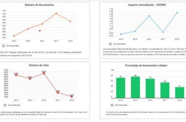 gráficos con datos y métricas del portal