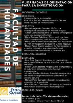 V Jornadas de Orientación para la Investigación de la Facultad de Humanidades @ Online - Universidad Pablo de Olavide