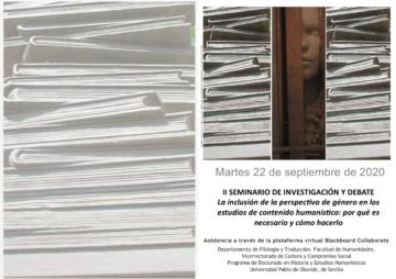 Seminario 'La inclusión de la perspectiva de género en los estudios de contenido humanístico' @ Online - Universidad Pablo de Olavide