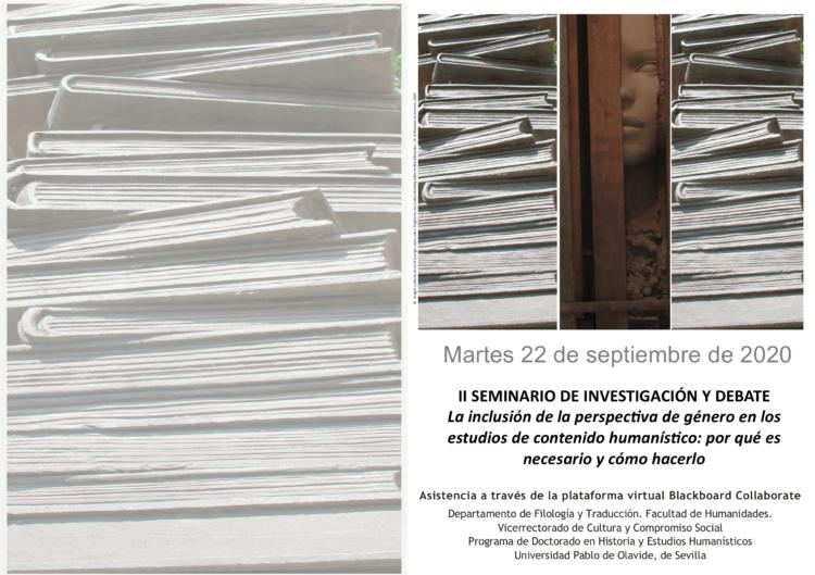 El seminario 'La inclusión de la perspectiva de género en los estudios de contenido humanístico: por qué es necesaria y cómo hacerlo' tendrá lugar 'online' mañana martes desde las 10 horas