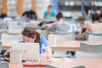 estudiantes en la biblioteca de la UPO