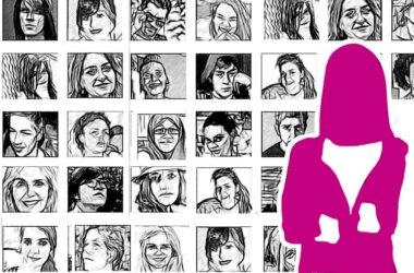 ilustración con rostros y silueta de mujer