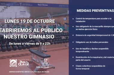 19 de octubre: reapertura del gimnasio