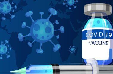 ilustración del coronavirus frente a una vacuna