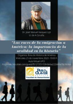Conferencia 'Las voces de la emigración a América: la importancia de la oralidad en la historia' @ Online - Universidad Pablo de Olavide
