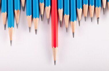 ilustración sobre la educación: lápices de color azul con un rojo destacado