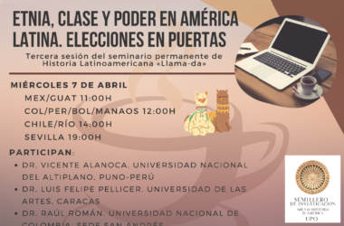 'Etnia, clase y poder en América Latina. Elecciones en puertas': 7 de abril, 19 horas
