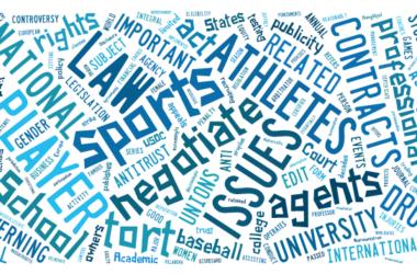 ilustración: etiquetas sobre derecho y deporte