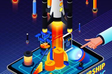 Composición isométrica de la actividad empresarial sobre fondo púrpura degradado con inicio de cohete, elementos de negocio, dispositivo móvil, ilustración vectorial