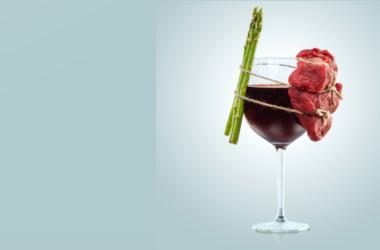 vino y alimentos (carne y espárragos)