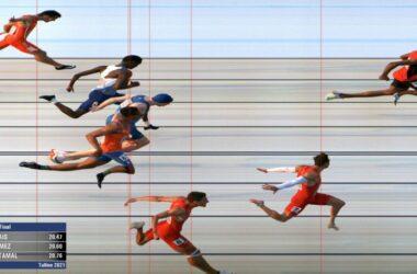 Foto finish de la prueba de 200 metros lisos