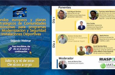 """Webinar """"Fondos Europeos y Planes Estratégicos de Comunidades Autónomas para Programas de Modernización y Seguridad en Instalaciones Deportivas"""""""
