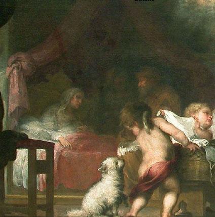 Detalle del Nacimiento de la Virgen, Murillo, Museo del Louvre