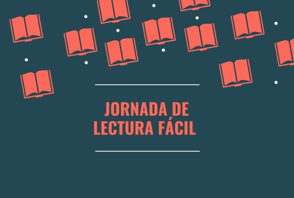Cartel Jornada de Lectura Fácil con libros en rojo sobre fondo gris