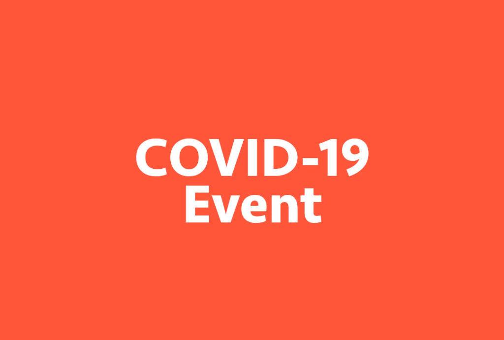 Texto Covid 19 Event sobre fondo rojo