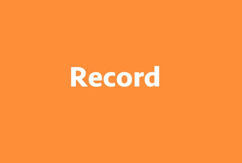 Texto Record sobre fondo naranja