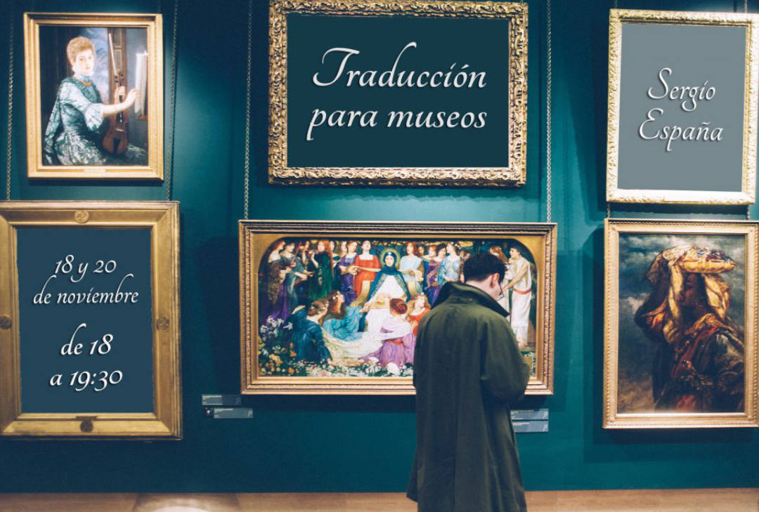Persona en un museo con cuadros de fondo