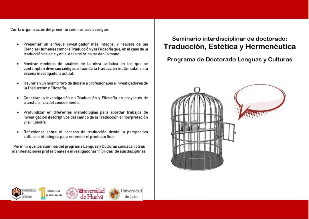 Programa del seminario Traducción, Estética y Hermenéutica de la UCO